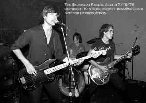 The Skunks playing Raul's 1979, Jesse Sublett, Bill Blackmon, Jon Dee Graham.